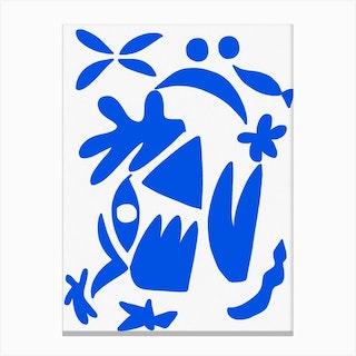 Blue Shape On White Background Canvas Print