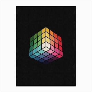 Retro Multicolor Cube Canvas Print
