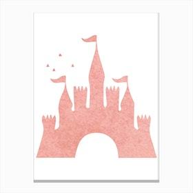 Peach Watercolour Castle Canvas Print