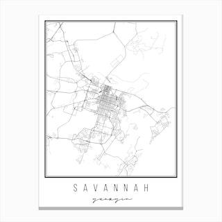 Savannah Georgia Street Map Canvas Print