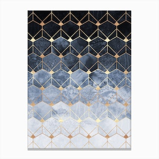 Blue Hexagons And Diamonds Canvas Print