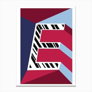 E Geometric Font Canvas Print