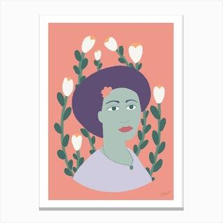 Flower In Her Hair Canvas Print