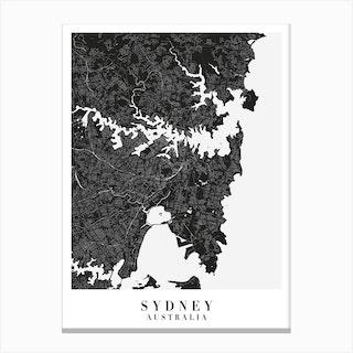 Sydney Australia Minimal Black Mono Street Map Canvas Print