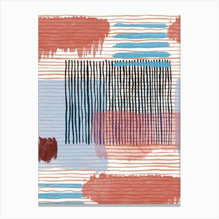 Abstract Striped Geo Red Canvas Print