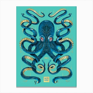 Octopus Blue And Gold Canvas Print