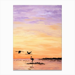 Flamingoes Canvas Print