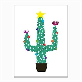 Cactus Christmas Tree Canvas Print