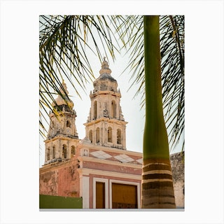 Church And Palm In Campeche Mexico Canvas Print