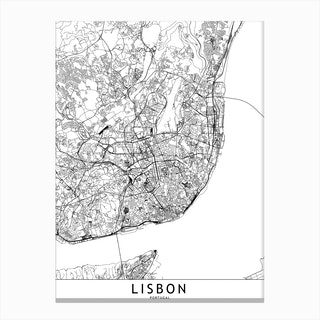 Lisbon White Map Canvas Print