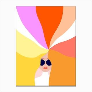 Girl Power Bright Rainbow Hair Canvas Print