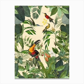 Jungle Toucan Yellow Canvas Print