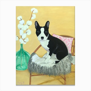 Frenchie On Rattan Chair Canvas Print