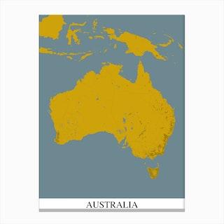 Australia Yellow Blue Map Canvas Print