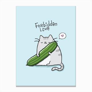 Cat Cucumber Canvas Print