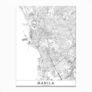 Manila White Map Canvas Print