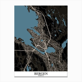 Bergen Black Blue Canvas Print