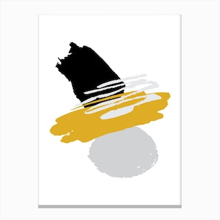 Mustard and Black Abstract Paint Shapes Canvas Print