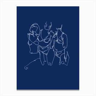 Sisters in Blue Canvas Print