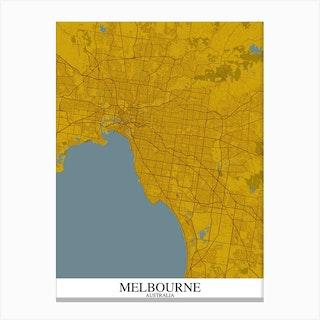 Melbourne Yellow Blue Map Canvas Print