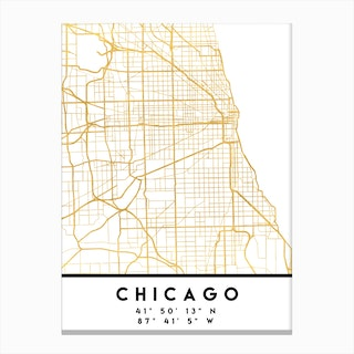 Chicago Illinois City Street Map Canvas Print