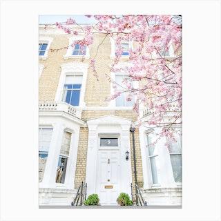 Pink White London Springtime Canvas Print