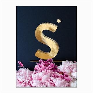 Flower Alphabet S Canvas Print
