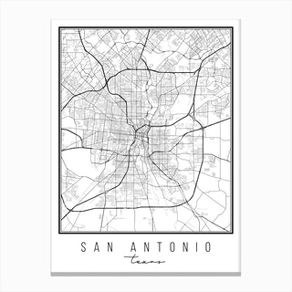 San Antonio Texas Street Map Canvas Print