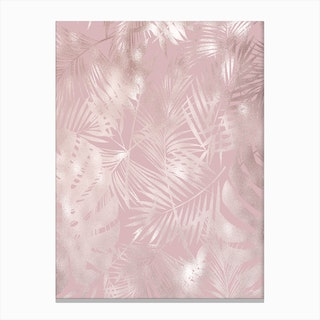 Pink on Pink Leaves Canvas Print