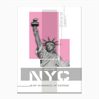 Poster Art Nyc Statue Of Liberty Pink Canvas Print