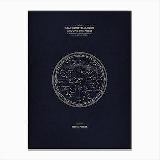 Starmaps Illustrated 1 Northern Hemispheres Canvas Print