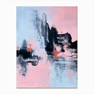 Pink And Grey Abstract 1 Canvas Print