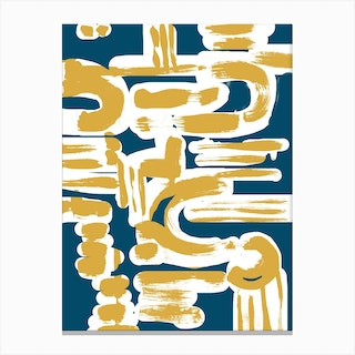 Teal And Ochre Brushstrokes Canvas Print