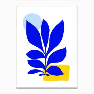 Matisse Inspired 1 Blue And Yellow Canvas Print