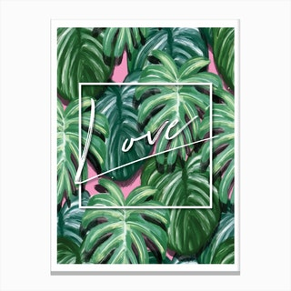 Love Funky Green Tropical Canvas Print