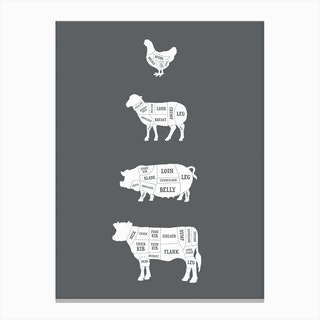 Butcher Chart (Solid) Canvas Print