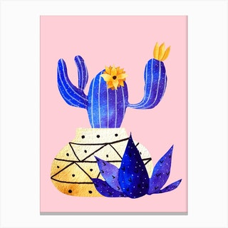 Golden Pot And Cute Cactus Canvas Print