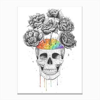 Skull With Rainbow Brain Canvas Print