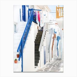 Streets Of Mykonos Canvas Print