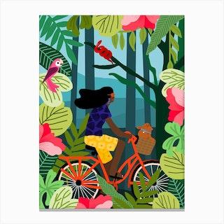 Girl Bike Canvas Print