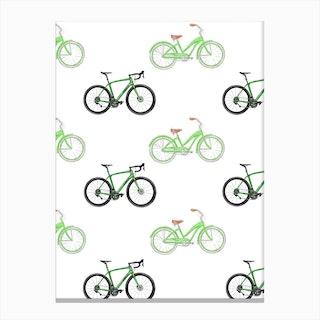 Green Bikes Canvas Print