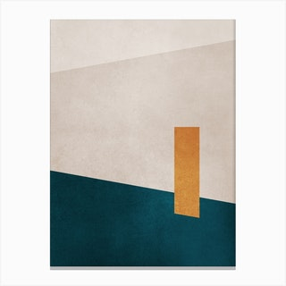 Acqua Green And Yellow Shapes Canvas Print