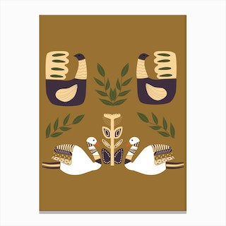 Folkie Elegamt Swans And Birds Canvas Print