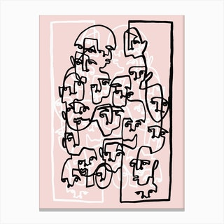 Face Book 3 Pink Canvas Print