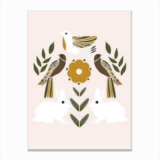 Folkie Rabbits And Birds Canvas Print