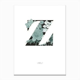 Flower Alphabet Z Canvas Print