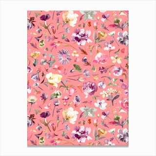 Flower Buds Coral Pink Canvas Print