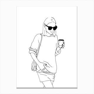 Woman With Coffee Canvas Print