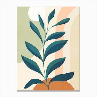 Earthy Tropical Foliage Blue 1 Canvas Print