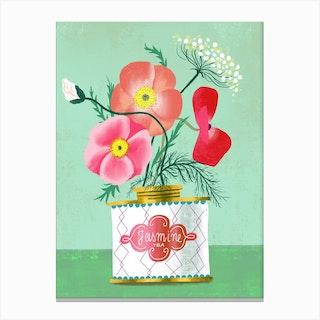 Poppies In Jasmine Tea Canvas Print